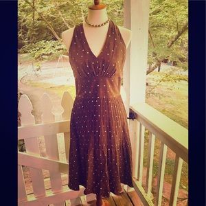 Kay Unger Brown Silk Dress Multicolored Dots 8